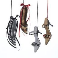 Kurt-Adler-Hanging-Animal-Print-Shoe-Ornaments-Leopard-amp-Zebra-New-2013