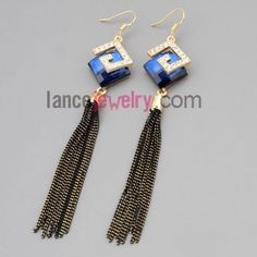 Personality earrings with zinc alloy  decorated rhinestone and blue crystal and chain pendant