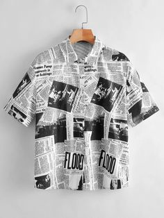 Aesthetic Grunge Outfit, Aesthetic Fashion, Aesthetic Clothes, Casual Shirts, Casual Outfits, Fashion Outfits, Printed Blouse, Printed Shirts, Style Costume Homme