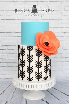 turquoise, black and white arrow cake ~  we ❤ this! moncheribridals.com #weddingcake