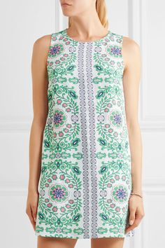 Tory Burch - Garden Party Printed Linen-blend Mini Dress - Green -