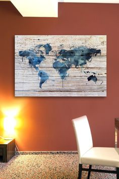 """Mapamundi Aqua"" Wood Wall Art"