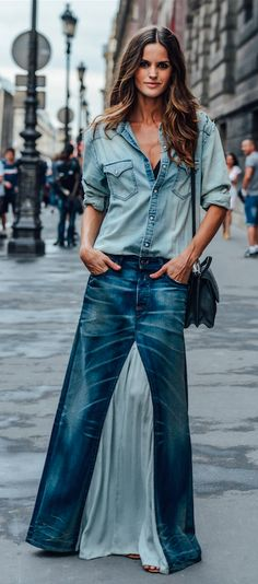 Fall 2015 Couture / denim street style / Tommy Ton for style.com
