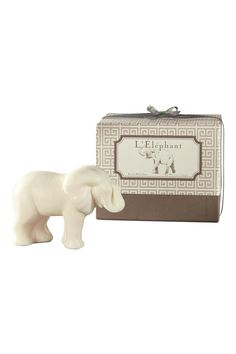 Elephants, with their trunks raised, are considered to be a sign of good luck and prosperity. This accurate soap rendering from Gianna Rose Atelier is certain to scented with scented Verbena, Green Tea and Bamboo, L'Elephant comes nestled in a beautiful patterned box. Vegetable based soap 5 oz.     Elephant Soap by Gianna Rose Atelier. Home & Gifts - Gifts - Scents & Bath Florida