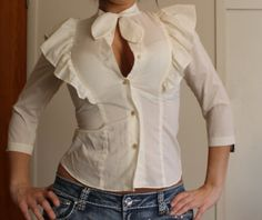 70s Cream batwing Ruffle shoulders and back by revampdcouture, $21.00