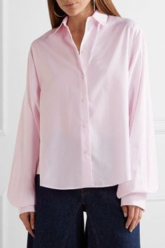 MM6 Maison Margiela - Oversized Striped Cotton-poplin Shirt - Baby pink