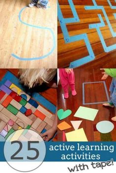 Tape activities are a great way for kids to be active and learn indoors. There's 25 ways to learn indoors with tape and being active!