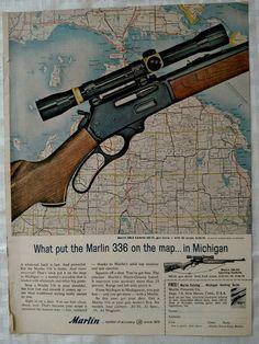 1963 Marlin 336 Hunting Rifle Vintage Magazine Print Ad Michigan map http://riflescopescenter.com/nikon-monarch-review/