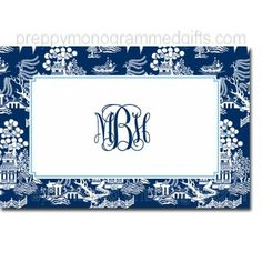 Laminated Chinoiserie Navy placemats Personalized Placemats
