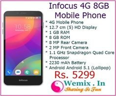 Infocus 4G 8GB Mobile Phone Rs 5299