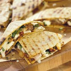 Chorizo and Cheese Quesadillas These super fast quesadillas can be grilled and used as an appetizer or main dish.
