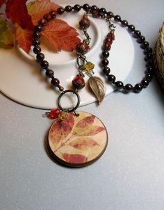 Orange Brown Red Gold Handmade Necklace Ephemera by StrandedBeads, $40.00