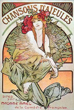 Vintage Alphonse Mucha Art Nouveau Fridge Magnet by Vividiom