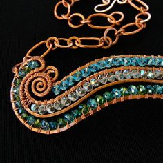 RIVER - Curvy Crystal and Hammered Copper Aqua Green Statement Necklace - Thea Green Statement Necklace, Crystal Necklace, Handcrafted Jewelry, Unique Jewelry, Jewelry Ideas, Periwinkle Blue, Green Aqua, Wire Wrapped Necklace, Hammered Copper