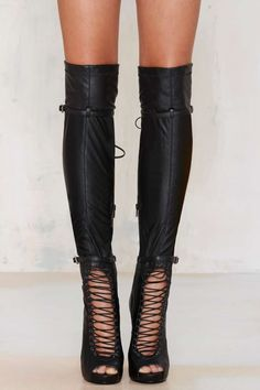 Jeffrey Campbell Evidence Over-the-Knee Boot - Shoes | Heels | Knee High | Lace-Up | Jeffrey Campbell