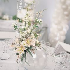 wedding table centerpieces | Decorative silver wire and sparkling rhinestone pins give a great ...