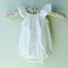 Baby girl romper playsuit pink polka dots by bluedaisywares, $30.00