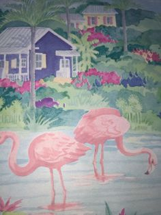 Pink Flamingo Wallpaper BORDER by Seabrook. Pattern PT233B. 2 sealed rolls plus 1 nearly full roll. Cottages and colorful plants in the background.