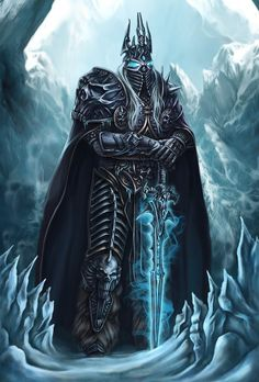 Arthas the Lich King by Kate Draconi / Concept Artist Warcraft Characters, Fantasy Characters, World Of Warcraft Wallpaper, Arthas Menethil, Art Warcraft, Beautiful Landscape Wallpaper, Lich King, Death Knight, King Tattoos