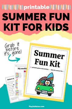 Download the printable Summer Fun Kit for kids and get everything you need to:  ✅ add more joy to this summer  ✅ make memories with your kids 😍 ✅ keep the little ones busy (and happy) for hours!   - Summer activities for kids | Family fun Preschool Activities At Home, Preschool Schedule, Printable Activities For Kids, Indoor Activities For Kids, Fun Crafts For Kids, Children Activities, Free Printables, Happy Kids, Happy Family