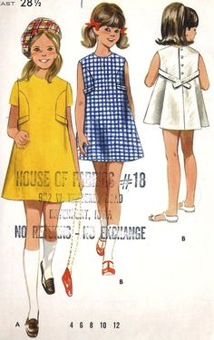 1960s Girls A Line Dress