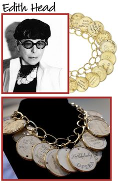 Edith Head typically wore her famous necklace of antique ivory theater tickets. The late Elizabeth Taylor loved the necklace so much that Edie bequeathed it to her at her death.