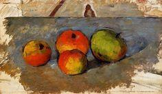 quatre pommes, huile sur toile de Paul Cezanne (1839-1906, France)