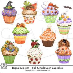 Fall and Halloween Cupcakes Clip Art - adorable clipart graphics for your creative projects.