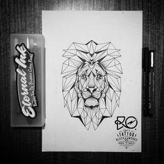 Illustration / line & dot work / #geometric #lion / Chile 2014. By RO. http://www.instagram.com/ro_tattoo/