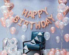 Rose Gold Happy Birthday decoration set 21st Birthday Party | Etsy