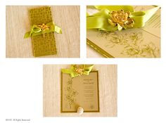 Adorned with a gorgeous gold orchid brooch laying on a chartreuse geometric brocade, the effect is subtle Asian glamour. The look is continued inside on metallic gold paper with a botanical orchid print. The over-all effect is classic, clean and zen-chic. Gold Paper, Metallic Gold, Custom Invitations, Orchids, Zen, Place Card Holders, Brooch, Glamour, Asian
