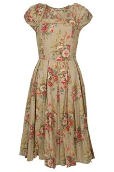 Lazybones Laura Dress - Floral pattern beige dress with ruched sleeves