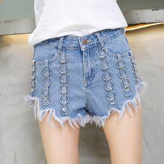 2017 shorts summer women sexy shorts fashion Iron ring punk shorts Light blue burr denim shorts women #Affiliate