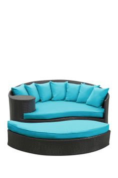 Taiji Outdoor Wicker Patio Daybed with Ottoman - Espresso/Turquoise