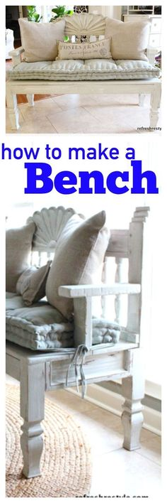 How to create a bench, using a headboard and end table. #diyproject #upcycle #furnituremakeover