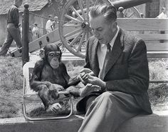 """*m. Be it man or beast, Walt Disney was able to command the attention of many an actor. Here, Walt visits behind the scenes with """"Mr. Stubbs"""" from Toby Tyler (1960)."""
