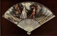 Vintage Fan: French - La Danse, after Lancret