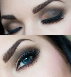 light grey shadow w/ dark grey liner.  suitable for work or an evening out.