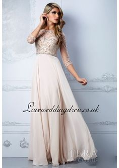 Chiffon Beaded Bodice Prom Dress With Illusion Long Sleeves - Prom Dresses - Wedding Dresses Shop