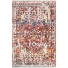 nuLOOM Vintage Faded Olden Tribal Medallion Rust Rug (8' x 10')