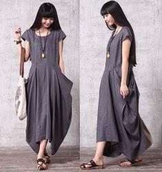Casual Loose Fitting Short Sleeved Linen Long Dress - Gray - Women Maxi dress LYQ617
