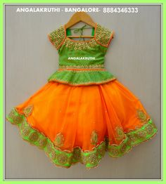 Designer Kids dress for age 12 months to 24 months Traditional Indian costume For birthdays and weddings and Indian traditional functions Maggam worked silk blouse Soft net lehanga Kids Party Wear Dresses, Kids Dress Wear, Kids Gown, Dresses Kids Girl, Baby Dresses, Kids Wear, Birthday Dresses, Girls Frock Design, Baby Dress Design