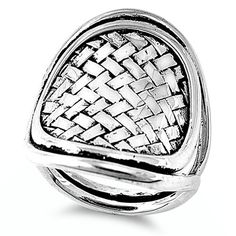 925 Sterling Silver Ladies Cocktail Chunky Silver Ring Size 9 R  Ajustable Thick