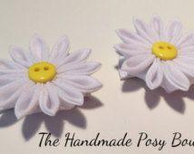 Handmade Kanzashi Daisy Flower Hair Clips