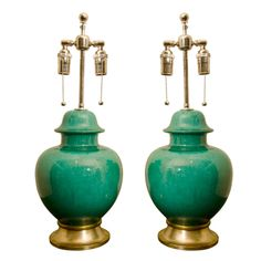 Pair Of Stunning Green Ceramic Lamps | From a unique collection of antique and modern table lamps at http://www.1stdibs.com/furniture/lighting/table-lamps/