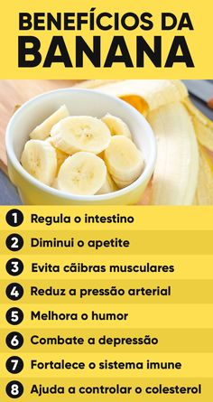 Os principais benefícios da banana são dar energia, diminuir o apetite devido ao seu teor de fibras e aumentar a sensação de bem estar, pois a banana é rica em triptofano, um aminoácido que faz aumentar a produção do hormônio serotonina, responsável por que melhorar o humor. Smoothies Detox, Banana Health Benefits, Healthy Snacks, Healthy Recipes, No Carb Diets, Healthy Lifestyle, Good Food, Food And Drink, Health Fitness