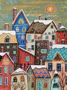 Snowfall Canvas Painting Folk Art Original Houses Cat Birds Karla G Karla Gerard, Art Fantaisiste, House Quilts, Art Et Illustration, Inspiration Art, Arte Popular, Winter Art, Naive Art, Whimsical Art
