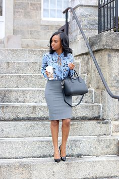 Floral j crew blouse, j crew pencil skirt, Louboutin heels, Givenchy bag, Starbucks Casual Work Outfits, Business Casual Outfits, Office Outfits, Work Casual, Classy Outfits, Cool Outfits, Business Attire, Office Skirt Outfit, Blue Skirt Outfits