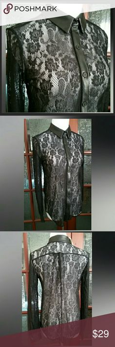 """Casual Couture by Green Envelope Lace Blouse NWT This gorgeous black lace blouse is NWT. It is made of 100% nylon, is hand washable, & is made in the USA.  The measurements across are: shoulder to shoulder 15 1/2"""", bust 16"""", waist 15"""". The length is 24 1/2"""". The sleeve length is 24"""". Please see last photo~ the right side hangs lower in front where buttoned. Casual Couture by Green Envelope  Tops Button Down Shirts"""