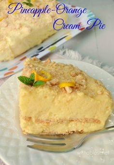 Creamy, light, zesty and delicious Pineapple-Orange Cream Pie, which is also a No-Bake recipe ~ enough for a crowd